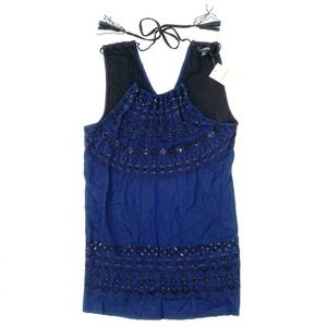 Lucky Brand Navy Blue Embellished Sleeveless Top M